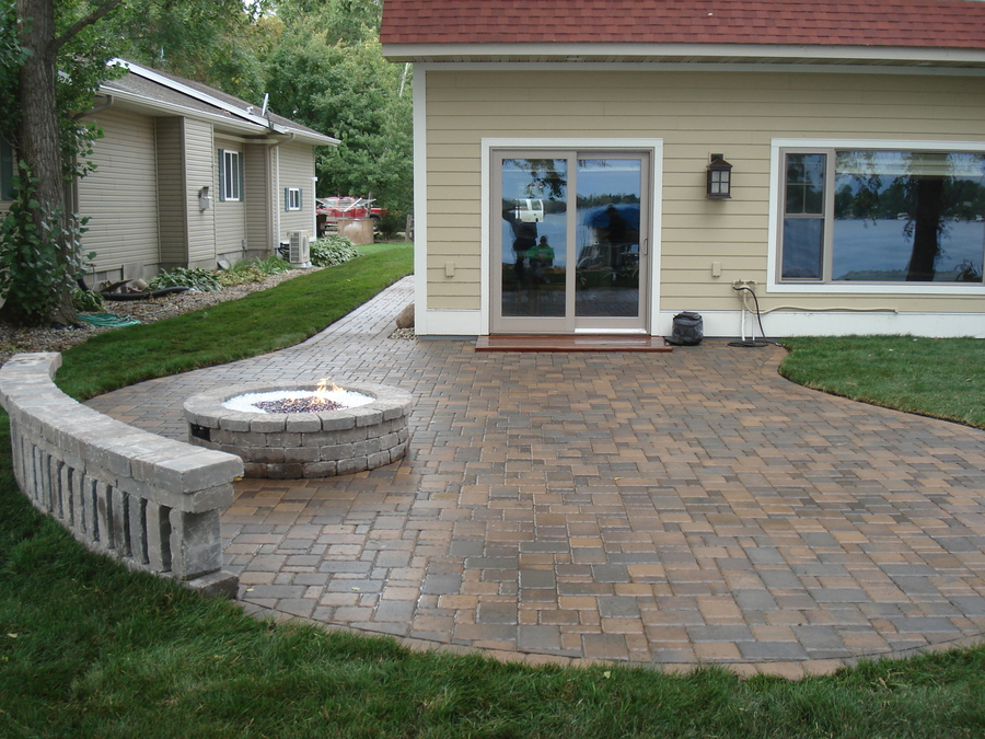Captivating Paverstone Patio, Sitting Wall And Fire Ring