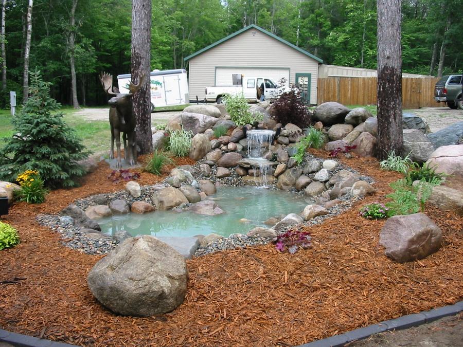 Waterfall, Pond, Shrubs, Mulch And Boulder Work