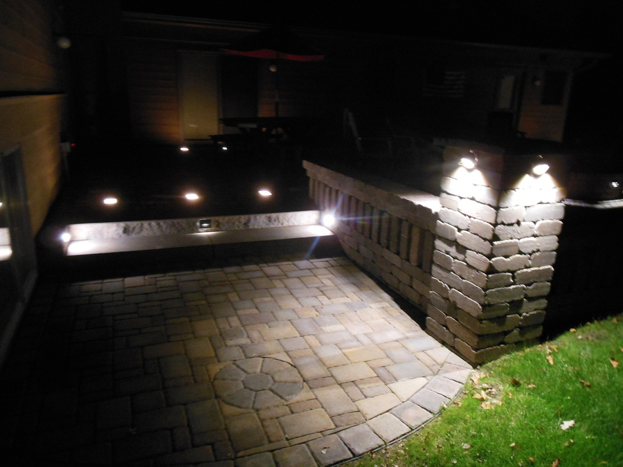 Accent Lighting On Pillar, Wall, And Steps